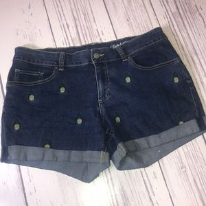 Blue Jean Shorts w/ Pineapples Embroidered size 12